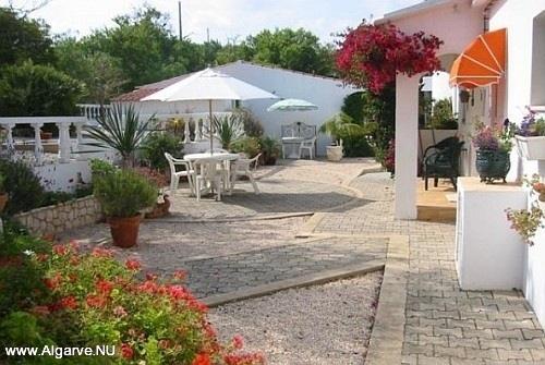 De tuin met een terras voorzien van tafel, stoelen en een parasol.